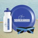 Beach Kit 20 Blue - Bottle 20 oz, Flyer & Sunglasses Kit Custom Imprinted