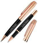 Custom Imprinted Crown Collection Metal Ballpoint & Rollerball Pen Set (Black/Rose Gold Gold)