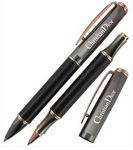 Logo Branded Crown Collection Metal Ballpoint & Rollerball Pen (Carbon Fiber Black)