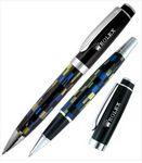Crown Collection Kaleidoscopic Metal Ballpoint & Rollerball Pen Set (Black/Blue/Silver) Logo Branded