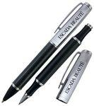 Crown Collection Metal Ballpoint & Rollerball Pen (Carbon Fiber Black/Silver) Custom Engraved