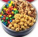 The Royal Tin w/ M&M's, Nuts, & Caramel Popcorn - Holly Design Logo Branded