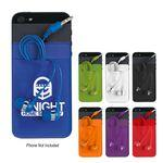 Silicone Card Sleeve With Ear Buds - Mobile Phone Case Pouch Logo Branded