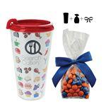 Logo Printed Plastic Travel Mug with Candy, Mints, Gum, or Chocolate - 16 Oz.