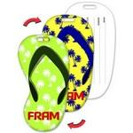 Custom Imprinted Luggage Tag / Flip-Flop Shape with Palm Trees Lenticular Design (Imprinted)