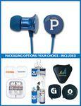 Custom Imprinted The Rhapsody Stereo Earbuds with upgraded speakers and choice of packaging