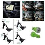 Custom Printed iBank(R) CD Slot Smartphone Holder + Car Charger (Green)