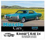 Logo Printed 2018 Muscle Cars Stapled Wall Calendar
