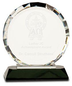 Crystal Round Award w/Rectangle Facets on Black Crystal Base (6