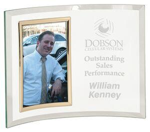 Premier Sandblasted Glass Crescent w/ Picture Frame