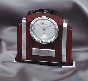Rosewood Clock with Chrome Detail