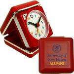 Branded Closable Folding Travel Alarm Clock with Snooze-RED