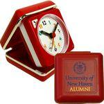 Closable Folding Travel Alarm Clock with Snooze-RED Custom Imprinted