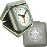 Closable Folding Travel Alarm Clock with Snooze-GRAY Logo Printed