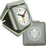 Logo Printed Closable Folding Travel Alarm Clock with Snooze-GRAY