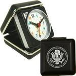 Closable Folding Travel Alarm Clock with Snooze-BLACK Logo Printed