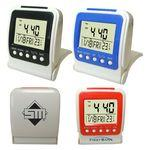 Folding Travel Alarm Clock with LED Backlight Custom Imprinted