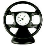 Branded Desktop Steering Wheel Shape Alarm Clock-BLACK