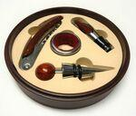 4 Piece Wine Tool Set In Round Red Wood Case Custom Imprinted