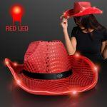 Red LED Sequin Cowboy Hat Custom Imprinted