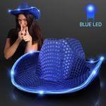 Blue Cowboy Hat w/Blue Lights Brim Personalized