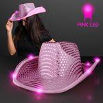 Pink Sequin Cowboy Hats w/Pink LED Brim Personalized