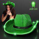 Green Sequin Cowboy Hat w/Jade LED Brim Custom Imprinted