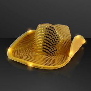 Logo Printed Shiny Gold Cowboy Hat with Light Brim