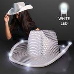 Branded Silver Sequin Cowboy Hat w/White LED Brim
