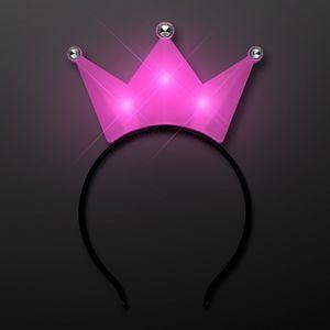 LED Pink Crown Tiara Headbands, Princess Party Favors Logo Branded