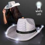 Silver Sequin Cowboy Hat w/White LED Brim Logo Printed