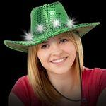 Customized Light Up LED Sequin Cowboy Hat (Green)