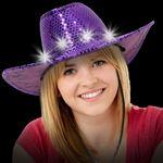 Light Up LED Sequin Cowboy Hat (Purple) Custom Imprinted