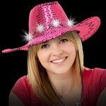 Light Up LED Sequin Cowboy Hat (Pink) Branded