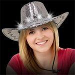 Light Up LED Sequin Cowboy Hat (Silver) Branded
