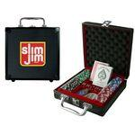 Personalized 100-Piece Poker Chip Set w/ Black Aluminum Case (2 Side Chip Imprint)