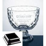 Logo Printed Presidential Golf Bowl Trophy on Black Base - Italian Lead Crystal