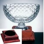 Logo Printed Royal Golf Bowl on a Rosewood Base - Italian Lead Crystal