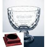 Logo Printed Presidential Golf Bowl Trophy on Rosewood Base - Italian Lead Crystal
