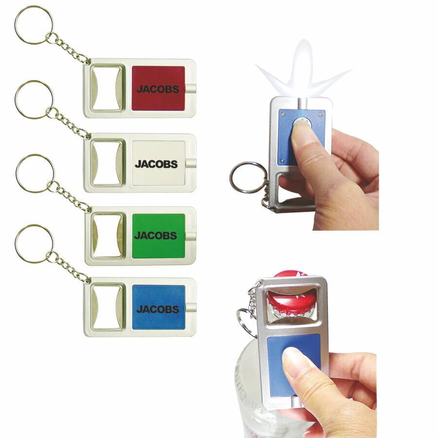 custom imprinted hank bottle opener key chain w led light brava. Black Bedroom Furniture Sets. Home Design Ideas