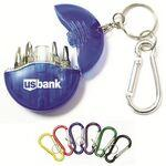 Logo Branded Mini 4-in-1 Screwdriver Tool Set with Split Key Ring and Carabiner