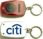 Custom Printed Rectangular LED Flashlight Key Chain with On/ Off Switch