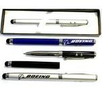 Custom Imprinted Metal Pen with Laser Pointer, LED Light & Stylus in Gift Box