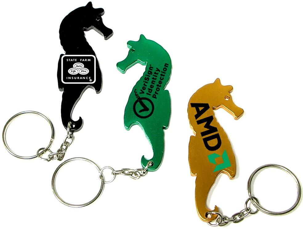 logo branded sea horse shaped bottle opener with key chain large quantities brava. Black Bedroom Furniture Sets. Home Design Ideas
