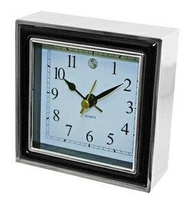 Alarm Clock, Black Enamel and Silver Case