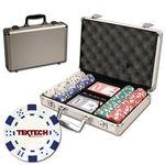 Poker chips set with aluminum chip case - 200 Dice chips Logo Printed