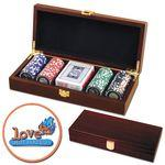 Customized Poker chips set with Mahogany wood case - 100 Full Color chips