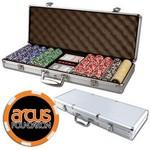 Poker chips set with aluminum chip case - 500 Full Color 6 Stripe chips Custom Imprinted
