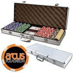 Promotional Poker chips set with aluminum chip case - 500 Full Color 6 Stripe chips
