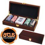 Poker chips set with Mahogany wood case - 100 Full Color 6 Stripe chips Logo Printed